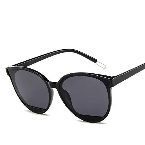 Gafas de sol de moda para mujer vintage de metal espejo clásico vintage (lentes de color: negrogris)