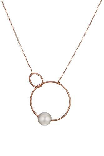 Córdoba Jewels | Collana in Argento Sterling 925 Placcato in Oro Rosa e Perla con Motivo FEDI di di Perle Classiche Rosa Oro