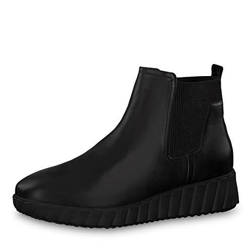 Tamaris Damen Stiefeletten 25485-23, Frauen Keilstiefeletten, Freizeit leger Stiefel Boots halbstiefel Wedge-Bootie flach,Black Leather,38 EU / 5 UK