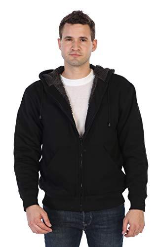 Gioberti Men Heavyweight Sherpa Lined Fleece Hoodie Jacket, Black C, Large