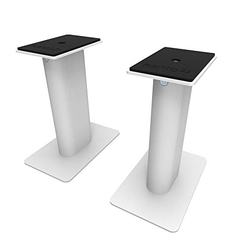 Kanto SP9 9' Speaker Stands   Designed for 3' to 4' Desktop and Bookshelf Speakers   Reduced Vibration   Heavy Steel with Foam Padding   30° Rotating Top Plate   Hidden Cable Design   White   Pair