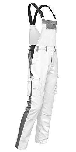 strongAnt® - Malerhose easyClean Latzhose für Männer mit Kniepolstertaschen Berlin Kombi-Hose Blaumann schmutzabweisend - Weiß-Grau, Gr. 50