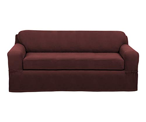 2 Pcs, MAYTEX Pixel Ultra Soft Stretch Furniture Cover Sofa Slipcover, Wine -$26.08(76% Off)