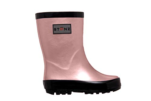 Stonz Rainboot, All-Natural Rubber Rainboots for Toddler Little Big Kid - Waterproof Colorful Warm - Summer Fall Winter - Metallic Pink, Size 10T