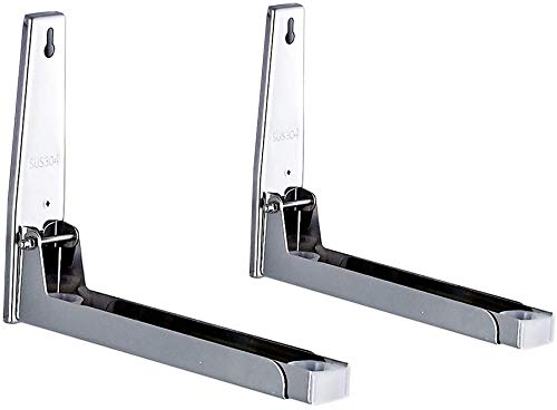 Mikrowellenhalterung, Silber, Faltbare Mikrowellenhalter für Mikrowelle, bis 40 KG BELASTBAR (Silber)