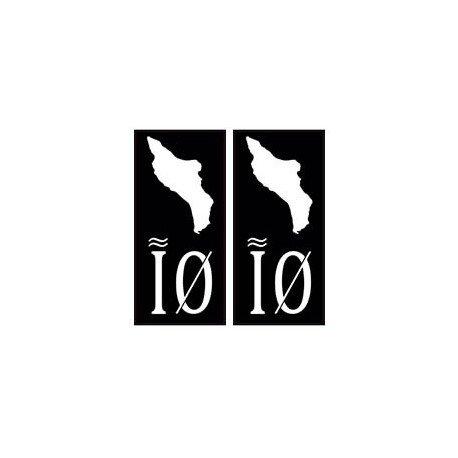 IO Aufkleber für Nummernschild, Motiv: Oleron-Ile, Schwarz Winkel: abgerundet.