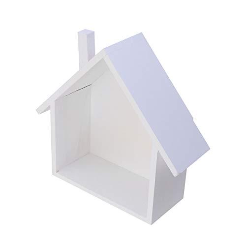TOPBATHY Husformad vägghylla i trä vägghylla förvaringshylla organisatör vitrinskåp för sovrum vardagsrum kök kontor (vit)