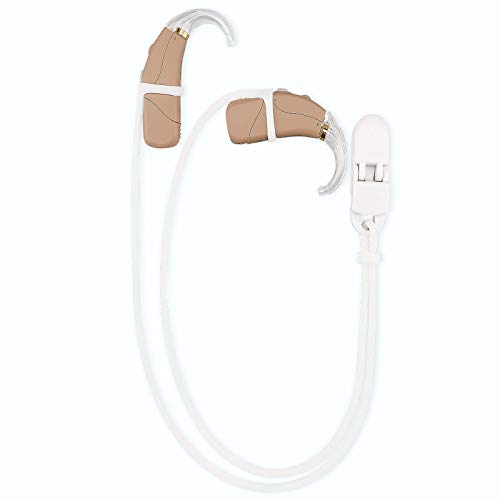 Vivtone Hearing Aid Clip and Anti-Lost Lanyard Keepers, BTE Hearing Aids Holder Straps Adults Seniors Kids, Elastic and Fashionable, Suitable for Various Hearing Devices (White)