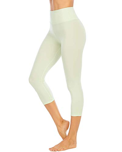 AUU Women High Waisted Yoga Capri Leggings Solid Color Workout Pants (Water Lily, X-Small)