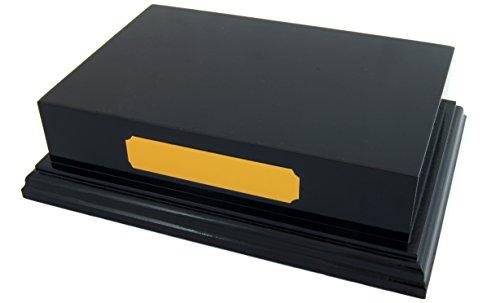 Stellsockel, Schwarz glänzend, 15,2x 10,2cm, holz, Schwarz , GOLD PLAQUE ENGRAVED