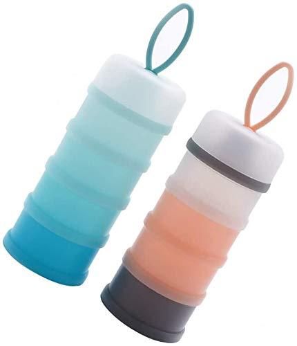 JPYZ 2 Stück Formel-Spender, Tragbarer Milchpulverspender 4-lagig, Tragbarer Vorratsbehälter für Lebensmittel, abnehmbares Design, Siegel-Milchpulver-Vorratsbehälter für Reise und Outdoor