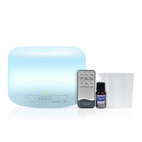 Humidificador Difusor de Aromaterapia De [[< 500ml >]] + CONTROL REMOTO + ACEITE INCLUIDO, 14 Colores LED. Difusor de Aceites Esenciales Silencioso Ultrasónico, Ideal para Bebé y Oficina.