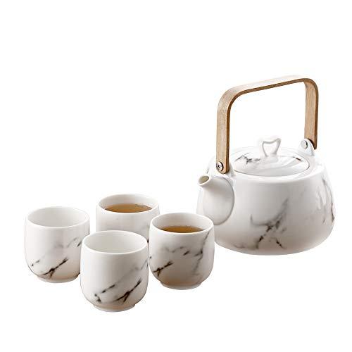 Juego de té japonés clásico de cerámica blanca con patrón de montaña, tetera y 4 tazas de té Mármol