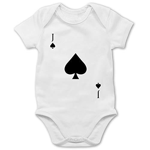 Shirtracer Karneval und Fasching Baby - Pik Bube Kartenspiel Karneval Kostüm - 18/24 Monate - Weiß - Geschenk - BZ10 - Baby Body Kurzarm für Jungen und Mädchen