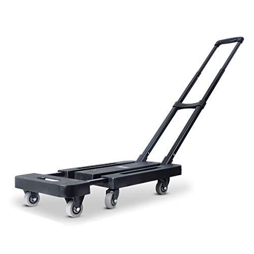Sackkarre - Klappbar - Bis 200 kg Tragkraft 6 Räder, leichter Gepäckwagen/Dolly, mit teleskopierbarem Eisenstangengriff-Schwarz[2.5Zoll Gummirad]