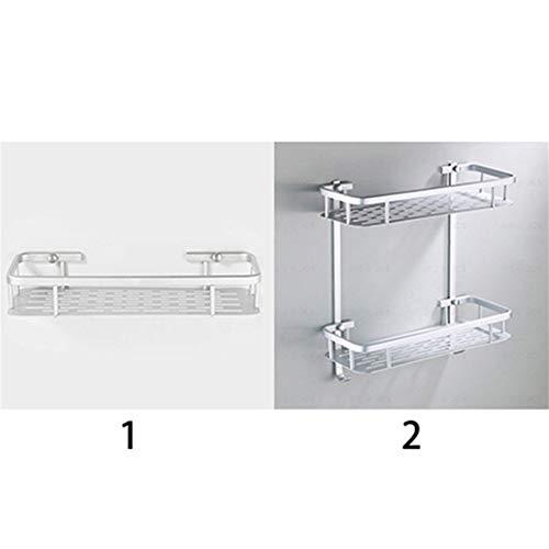 Ivyday Aluminiumlegierung Kompaktdusche Badregal Rechteck Aufbewahrungskorb für Badezimmer Küchenorganisator,Einzelne Schicht