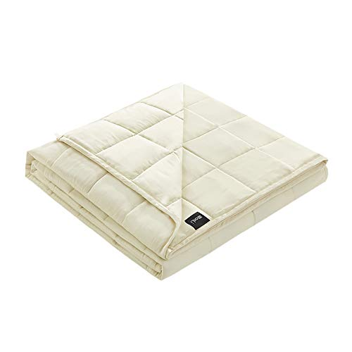 ZonLi Cooling Weighted Blanket Adult 10 lbs(48''x72'' Cream, Twin Size ), Cooling Weighted Blanket for Adults, 100% Bamboo Viscose with Glass Beads