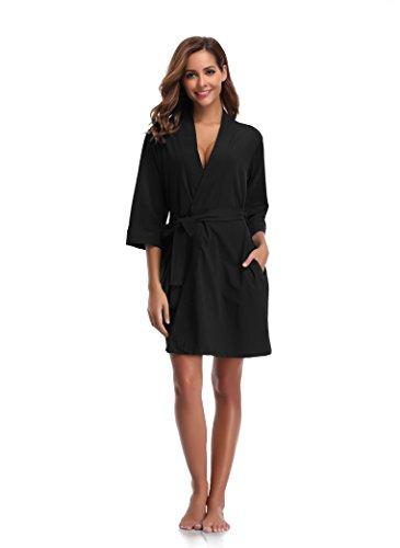 Luvrobes Women's Cotton Knit Kimono Robe (L, Black)