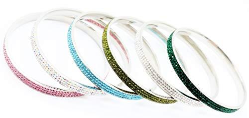 Glamouröses & Elegantes Armband Armreif aus hochwertigem Chirurgenstahl für Frauen Damenschmuck Silber verziert mit Farbigen Edelsteine
