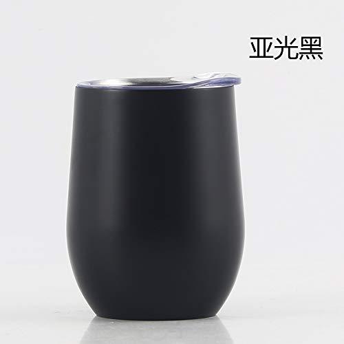 Heliansheng Taza Termo de Acero Inoxidable de 12 oz para Vino Tinto, Taza de plástico para Huevos en Aerosol, Taza de Cerveza al vacío, Negro mate-12 oz-G630