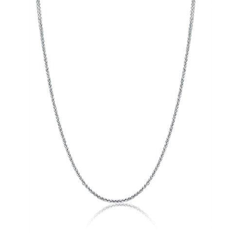 18 Karat / 750 Weißgold Schöne Diamantschliff Spiga Weizen Kette Länge wählbar (50 CM)