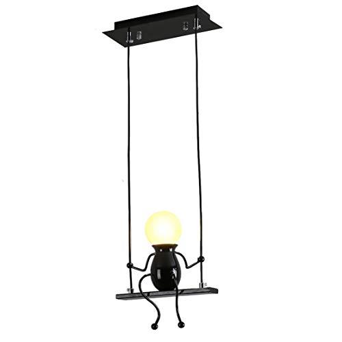 Creativo Iluminación colgante LED Moderno Gente pequeña Ajustable Luces colgantes para el comedor Decoración Planchar Dibujos animados Muñeco lámparas de araña Luces de techo 1×E27 (Negro, One)