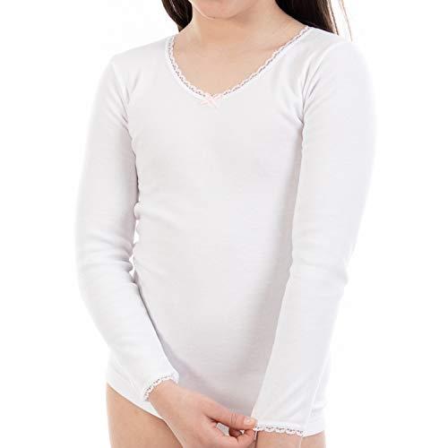 Camiseta Interior Termal de niña L144, de Manga Larga y Cuello Pico con puntilla. Pack Ahorro de 6 Unidades de la Misma Talla y Color. (2)