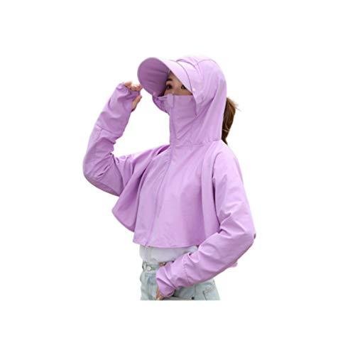 TENDYCOCO Sommer Frauen Anti-UV-Jacke mit Abnehmbarer Kappe Outdoor-Fahrradbekleidung - Hellviolett