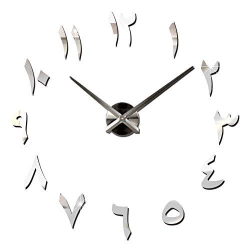 Lawei Reloj de pared DIY árabe grandes relojes 3D espejo etiqueta engomada sin marco reloj para el hogar Oficina Sala Decoración Regalo - Plata