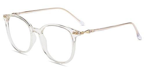 Firmoo Blaulichtfilter Computer Brille ohne Sehstärke für Damen/Herren,Anti Blaulicht UV Schutzbrille, TR Vollrandbrille gegen Augenbelastung Entspiegelte Nerdbrille (Transparent)