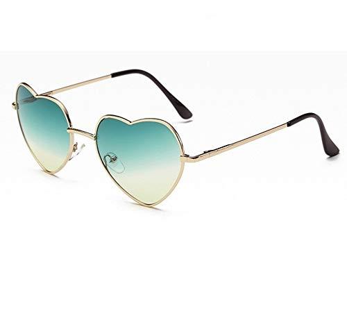 GAOTIAN Gafas de Sol Señoras en Forma de corazón Gafas de Sol Metal Mujeres Moda Rimless Amor Clear Ocean Lentes Sun Glasses Oculos UV400