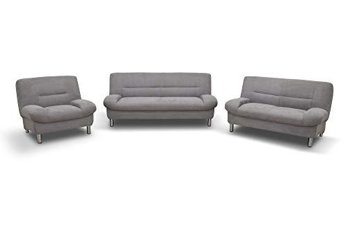 Domo Collection Asti COUCH Garnitur / 3-teilige Sitzgruppe / Größe: 200 cm, 150 cm, 100 cm (Breite 2,5 er, 2er, Sessel) / Stoff: Microfaser in silber (grau), 3-2-1 Sofa Garnitur