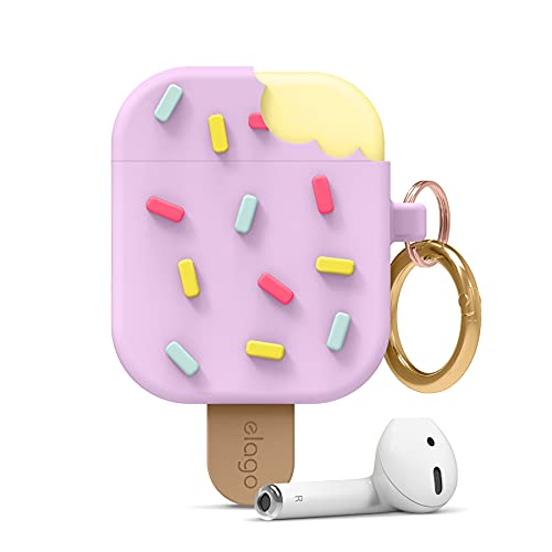 elago Ice Cream AirPods Case with Keychain Designed for Apple AirPods 1 & 2 [US Patent Registered] (Blueberry)