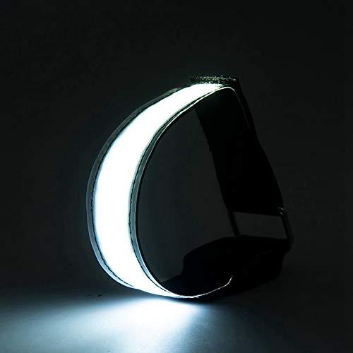 UBVV - Pulsera LED recargable para correr, luz de seguridad, reflector y luz intermitente para niños – intermitente y estático USB recargable (blanco)