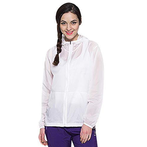 Women's Outdoor Anti UV Quick-Dry Thin Windbreaker Jackets Sun Protection Lightweight Jacket Breathable Hooded Coat White