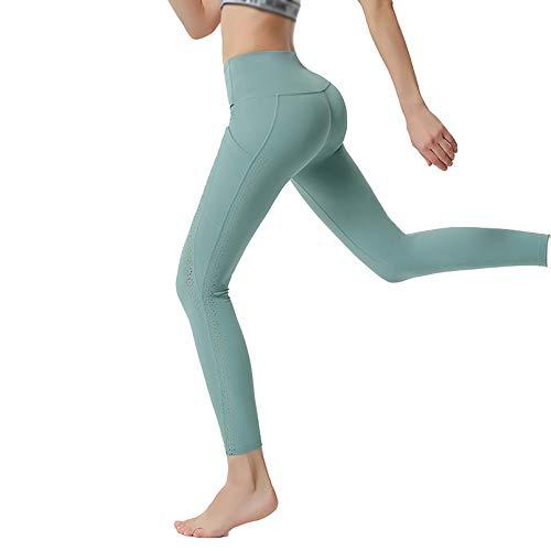 HOUWENJ Pantalones Cintura Alta Mujer, Pantalones Cadera Fitness Running Secado Rápido Pantalones De Yoga Apretados Mujeres Cyan-S