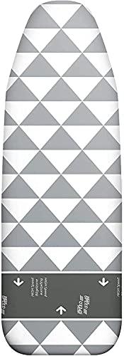 arteneur Bügelbrettbezug 140x40 für Dampfbügelstation Made in Germany - Bügeltischbezug Grau mit Gummizug, Gleitzone, Thermo Reflect Alu Beschichtet, Dampfdurchlässig & Hitzereflektierend (XL)