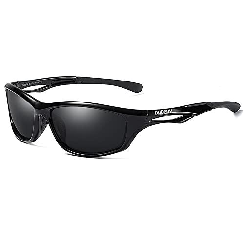 DUBERY - Gafas de sol polarizadas para hombres y mujeres, ciclismo, conducción y pesca, protección UV400, Marco negro brillante-lente gris, Talla única