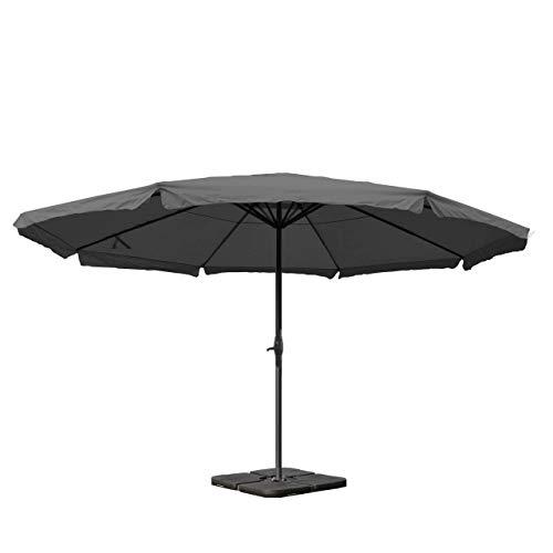 Sonnenschirm Meran Pro, Gastronomie Marktschirm mit Volant Ø 5m Polyester/Alu 28kg - anthrazit mit Ständer