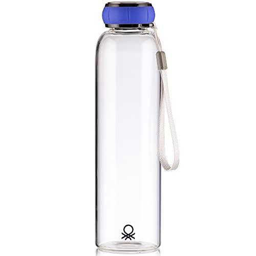 UNITED COLORS OF BENETTON. Botella de Agua 550ml borosilicato Tapa Azul Casa Benetton, 550 ml