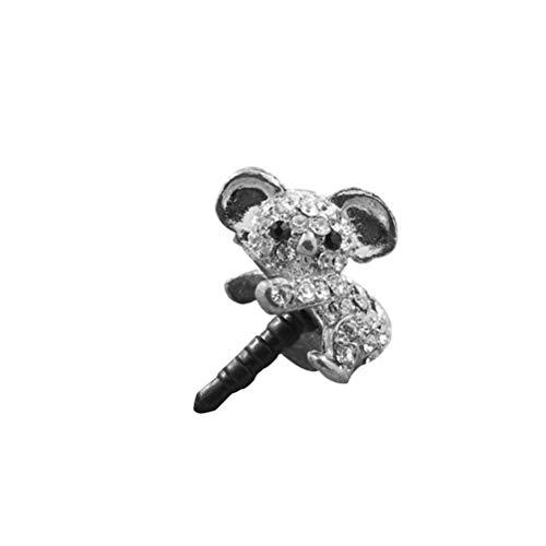 UKCOCO 휴대 전화 플러그 먼지 귀여운 다이아몬드 크리스탈 코알라 셀룰라 전화 반대로 먼지 플러그인 매력 전화 액세서 귀 잭 먼지 플러그(실버)
