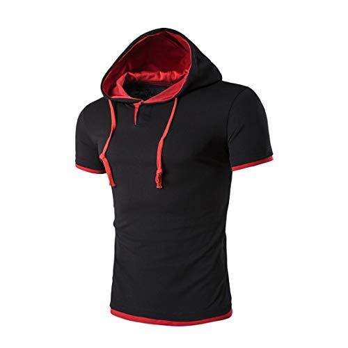 Capucha T-Shirt Hombres Verano Slim Fit Botón con Cordón Tapeta Manga Corta Hombres Camiseta Deporte Casual Hombres Streetwear Entrenamiento Correr Sudadera con Capucha Hombre F-Black XL