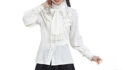 Nuoqi Damen Viktorianische Chiffon Bluse Rüsche Shirts Vintage Tops Weiß