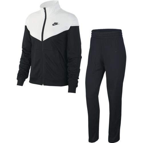Nike Damen W NSW TRK Suit PK Tracksuit, Black/White/(Black), L