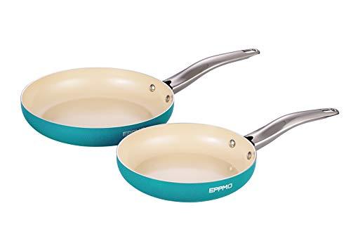 EPPMO Juego de Sartenes Antiadherentes de Aluminio con Recubrimiento Cerámico Resistente a Alta Temperatura Apto para todo tipo de Cocinas incluido Inducción, Color Azul Tiffany (24cm y 28cm)