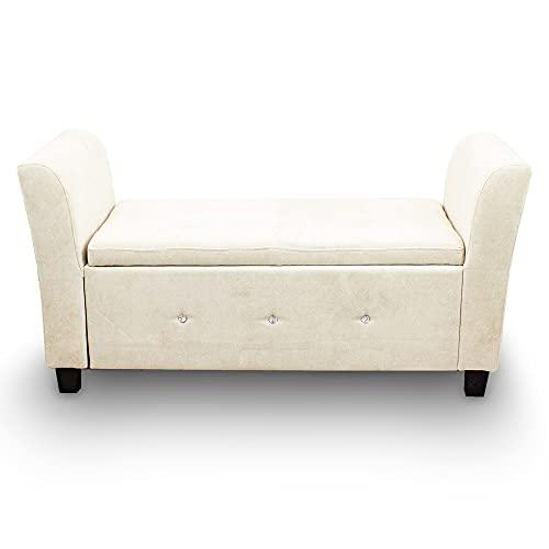 Sitzbank Sitztruhe Zweisitzer Polsterbank Fensterbank Ottomane Zweisitzer Mini Couch Kinder Couch mit Stauraum 136x45x66 (Silbergrau) - 2