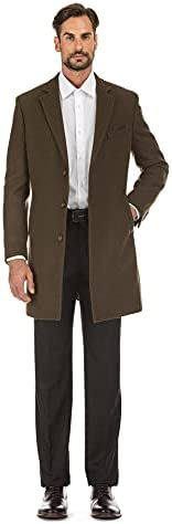 English Laundry Men's Wool Blend Breasted Solid Olive 3/4 Length Top Coat (46 Ragular)