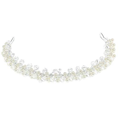 Pixnor Perle Bandeaux de Mariée Cheveux Cerceau Coiffes Cristal Chapeaux Accessoires de Cheveux de Mariage pour Fille Femmes de Mariée