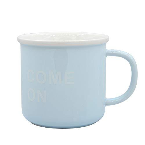 1 stks hoge trength keramische beker, Candy-gekleurde waterbeker, beker voor thee, beker voor koffie 330ml, geschikt voor magnetron oven Blauw(kom op)