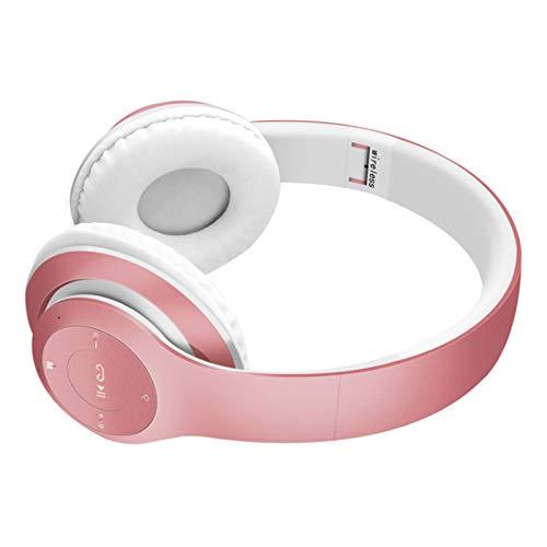 Wsaman Auriculares Estéreo, Auriculares inalámbricos Bluetooth con Micrófono Hi-Fi Deep Bass, para Deportes Oficina en Casa Trabajo, Tablets Auriculares Cómodos Plegables,Rosado